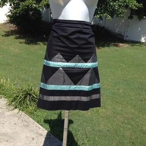 DKNY skirt black gray blue turquoise blocked aline